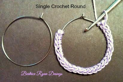 Simple Summertime Crochet Earrings SC round
